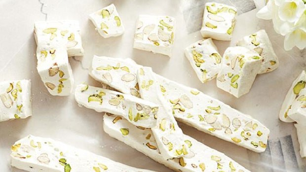 Nougat Blanc with Almonds & Pistachios | Courtesy of Sweet Paul Magazine