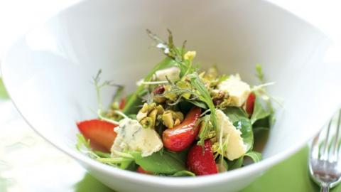 "ARUGULA, ""PICKLED"" STRAWBERRIES, CANDIED PISTACHIOS AND CRUMBLED BLUE CHEESE SALAD"