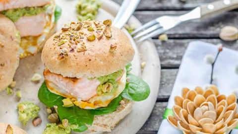 Pistachio Burger with Salmon, Fried Egg, and Pistachio Guacamole